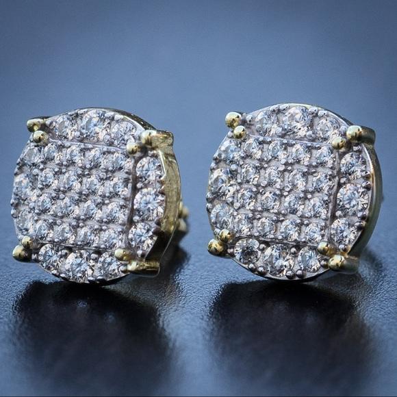 b3f810b0928 Men's Round 14k Gold Diamond Stud Earrings Boutique